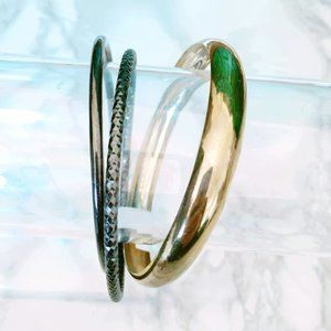 Gold and Gunmetal Bangle Bracelets